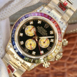 Swiss Replica Rolex Daytona 116599RBow 18k Yellow Gold Case with Diamonds 1:1 Mirror Quality SRDT034