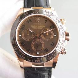 Swiss Made Replica Rolex Daytona 116515 Rose Gold Case Chocolate Dial with Arabic 1:1 Mirror Quality SRDT103
