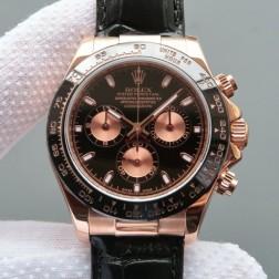 Swiss Made Replica Rolex Daytona 116515 Rose Gold Case Black Dial 1:1 Mirror Quality SRDT104