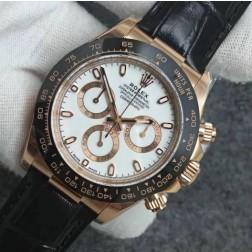 Swiss Made Replica Rolex Daytona 116515 Rose Gold Case and White Dial 1:1 Mirror Quality SRDT106