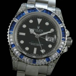 1:1 Mirror Replica Rolex GMT Master II Diamonds Case and Bezel Black Dial Genuine Swiss SRGM004