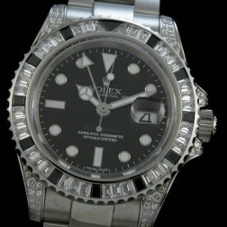 1:1 Mirror Replica Rolex GMT Master II Diamonds Case and Diamonds Bezel Black Dial Genuine Swiss SRGM005