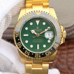 1:1 Mirror Replica Rolex GMT Master II 116718-LN-78208 Yellow Gold Green Dial Genuine Swiss SRGM006