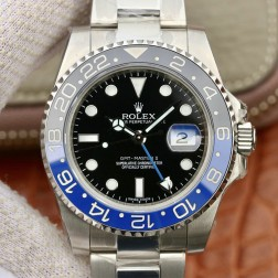 1:1 Mirror Replica Rolex GMT Master II 116710 Black Dial Blue Black Bezel Genuine Swiss SRGM013