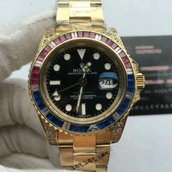 1:1 Mirror Replica Rolex GMT Master II 116758 SAru-78208 18k Yellow Gold Diamonds Case Genuine Swiss SRGM014