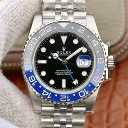 1:1 Mirror Replica Rolex GMT Master II 116710 Black Dial Blue Black Bezel Genuine Swiss SRGM015