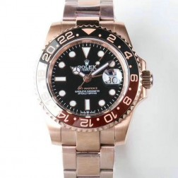 1:1 Mirror Replica Rolex GMT Master II 126715CHNR Black Dial Rose Gold Genuine Swiss Watch SRGM019