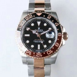 1:1 Mirror Replica Rolex GMT Master II 126711CHNR Black Dial Rose Gold Two Tone Genuine Swiss Watch SRGM020