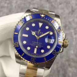 Swiss Made New Replica Rolex Submariner 1:1 Mirror 116613 Blue Dial Two Tone Watch SRS011