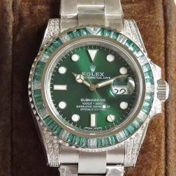 Swiss Made New Replica Rolex Submariner 116610LV-97200 Green Dial Diamonds Case 1:1 Mirror SRS012
