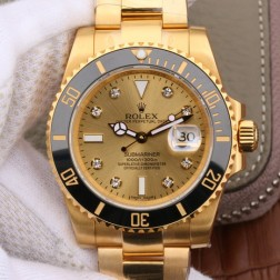 Swiss Made New Replica Rolex Submariner 116618 Diamonds Dial Yellow Gold Case 1:1 Mirror SRS013