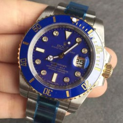 Swiss Made New Replica Rolex Submariner 1:1 Mirror 116613 Blue Dial with Diamonds Two Tone Watch SRS102