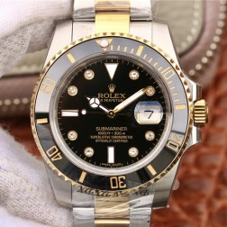 Swiss Made New Replica Rolex Submariner 1:1 Mirror 116613-LN-97203 Black Dial with Diamonds SRS103