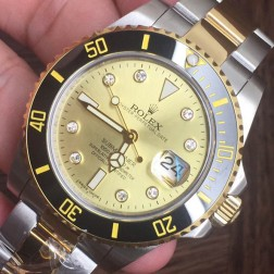 Swiss Made New Replica Rolex Submariner 1:1 Mirror 116613LB-97203 Gold Dial with Diamonds SRS104