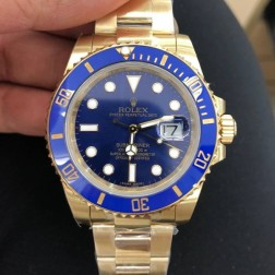 Swiss Made New Replica Rolex Submariner 116618LB-97208 Blue Dial Yellow Gold Case 1:1 Mirror SRS105