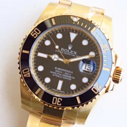 Swiss Made New Replica Rolex Submariner 116618LN-97208 Black Dial Yellow Gold Case 1:1 Mirror SRS106