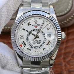 New Genuine Swiss Replica Rolex Sky-Dweller 326939 SS Case White Dial with Roman Markers 1:1 Mirror SRSK002