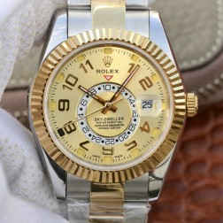 New Genuine Swiss Replica Rolex Sky-Dweller 18K Yellow Gold Two Tone Gold Dial 1:1 Mirror SRSK006