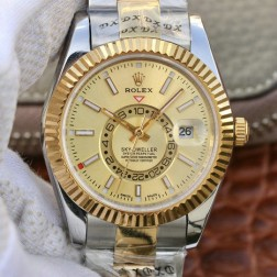 New Genuine Swiss Replica Rolex Sky-Dweller m326933-0001 18K Yellow Gold Two Tone 1:1 Mirror SRSK007