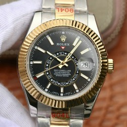 New Genuine Swiss Replica Rolex Sky-Dweller m326933-0002 18K Yellow Gold Two Tone Black Dial 1:1 Mirror SRSK009