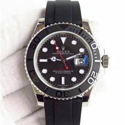 Swiss Made Replica Rolex Yacht-Master 116655 Black Dial Ceramic Bezel 1:1 Mirror SRY007