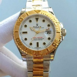 Swiss Made Replica Rolex Yacht-Master White Dial Yellow Gold Two Tone Watch 1:1 Mirror SRY010