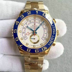 New Swiss Made Replica Rolex Yacht-Master II 116681-78218 Yellow Gold Case White Dial 1:1 Mirror Quality SRY018