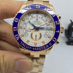 New Swiss Made Replica Rolex Yacht-Master II 116681-78218 Rose Gold Case White Dial 1:1 Mirror Quality SRY019