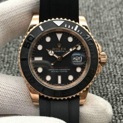 Swiss Made Replica Rolex Yacht-Master 116655 Rose Case Black Dial Rubber Straps 1:1 Mirror SRY023