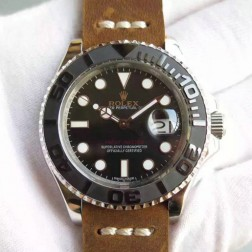 Swiss Made Replica Rolex Yacht-Master 116655 Black Dial Ceramic Bezel Leather Strap 1:1 Mirror SRY101