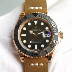 Swiss Made Replica Rolex Yacht-Master 116655 Rose Gold Case Ceramic Bezel Leather Strap 1:1 Mirror SRY102
