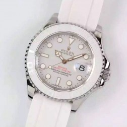 Swiss Made Replica Rolex Yacht-Master 116655 SS Case White Ceramic 1:1 Mirror SRY103