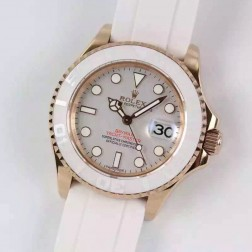 Swiss Made Replica Rolex Yacht-Master 116655 Rose Gold Case White Ceramic 1:1 Mirror SRY104