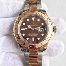Swiss Made Replica Rolex Yacht-Master 116621 Chocolate Dial Two Tone Watch 1:1 Mirror Best Quality SRY106