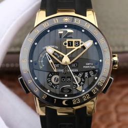 Swiss Made 1:1 Mirror Best Replica Ulysse Nardin El Toro/Black Toro Yellow Gold Watch Black Dial SUN007