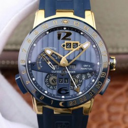 Swiss Made 1:1 Mirror Best Replica Ulysse Nardin El Toro/Black Toro Yellow Gold Watch Blue Dial SUN008