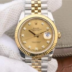 Replica Rolex Datejust II Men Watch Yellow Gold Dial Diamond Numerals Jubilee Bracelet SRDJ011